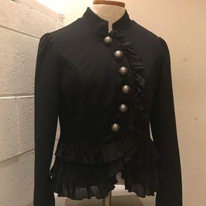 Black Military Style Jacket w/ruffles. Size Small